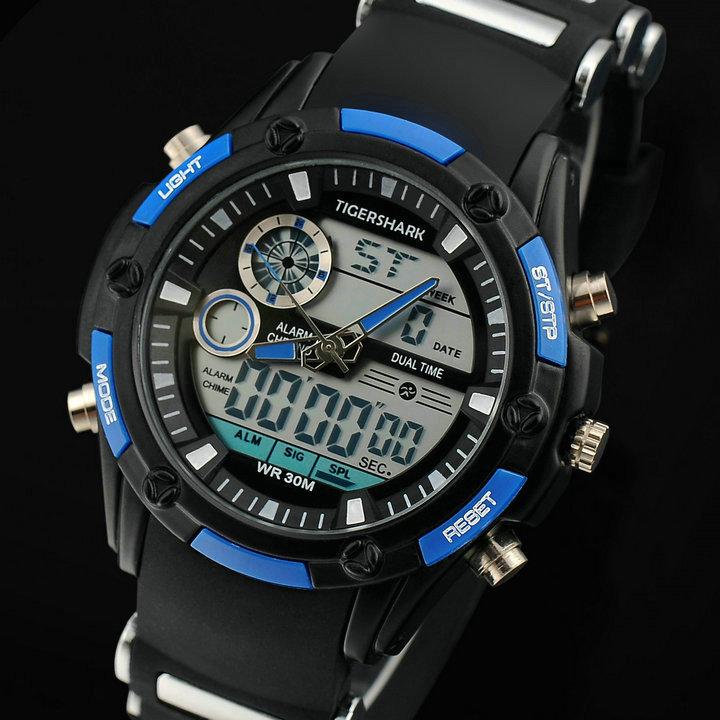F21 New Men's men military sports watches Dual Time Quartz Analog & Digital Watch LED watches free ship(China (Mainland))