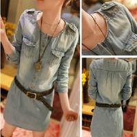 New 2014 Spring women dresses long-sleeve slim denim dress lady summer dress