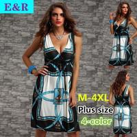 2014 New Retail Spring And Summer Europe And America Deep V-neck waist harness bohemian retro milk silk ice silk dress