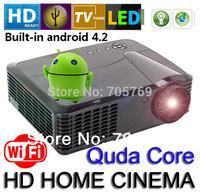 3D TV LED projektori 1280*800 Full HD Quad Core Android 4.4.2 Projector 2*USB HDMI Input Big Screen 200 inches For Home Theatre