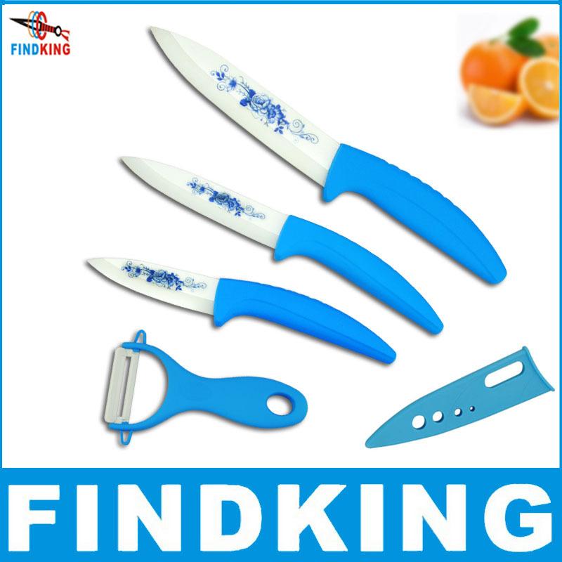 "2014 Hot FINDKING High Quality Blue Flower Painted Zirconia Ceramic fruit kitchen Knife Set Kit 3"" 4"" 5'' inch + Peeler+Covers(China (Mainland))"