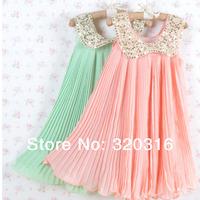 2014 new dress,Free shipping children's Chiffon dress sequins Collar dress,cute pink green kids dress,Wholesale price TZ11A01