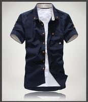 Cheap shipping 2014 new style Men's Fashion casual Short Sleeve Shirts high quality Summar Slim Shirts best sell