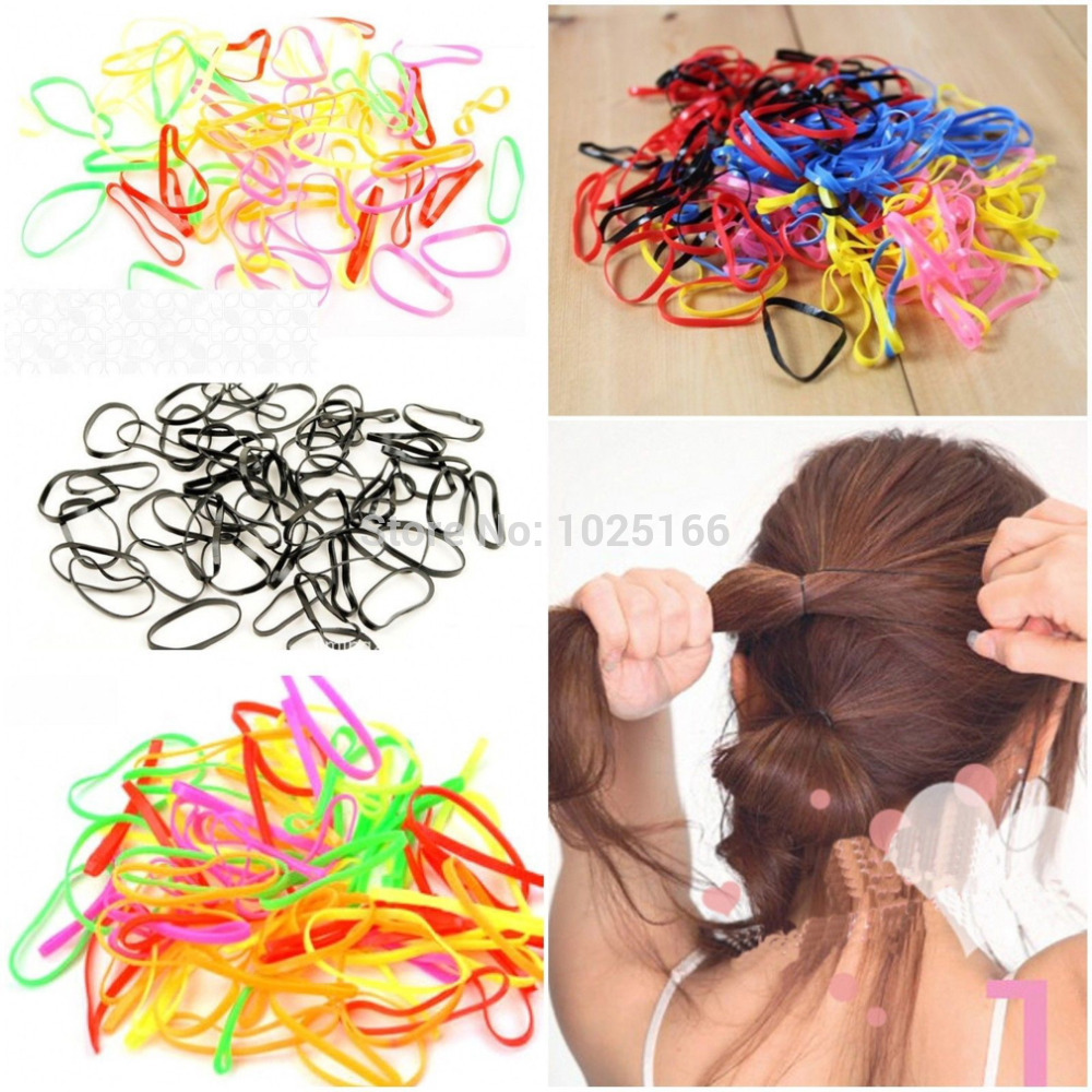 300pcs/Bag Rubber Hairband Rope Ponytail Holder Ties Braids Plaits Elastic Hair Band(China (Mainland))