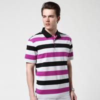2014 Summer Men Striped Turn-down Collar Short Sleeve T Shirt Casual Sport 100% Cotton Tees S-XXL High Quality