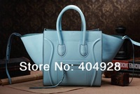 The emperor blue fluorescence 3341 Bat Pack  purse women smile face handbag top quality wholesale and retail brand fashion