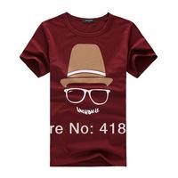 Mr. sunny  fashion  cap cotton men's T-shirt O-Neck glasses stars good quality tee Free shipping M L XL XXL