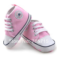 Retail Free Shipping brand pink baby shoes, hot sale star shoes,baby girl's soft first walk shoes