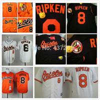 cheap Free Shipping Baltimore Orioles Jerseys 8 Cal Ripken Black /orange Fashion Cheap Baseball Jerseys Embroidery