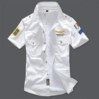 Men Casual Shirt  Brand Airforce Uniform Military Short Sleeve Shirts Men's Dress Shirt Male Summer White Fashion Free Shipping