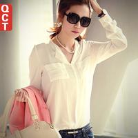 new 2015 blouse spring autumn  women loose casual basic long-sleeve chiffon blusas top blusas  women blouses free shipping 15