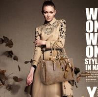 Embossed handbags new European and American Shoulder Messenger three portable woven bag fashion handbag free shipping b125P10