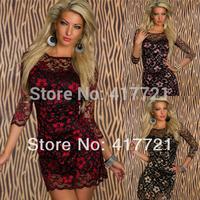 Cheap New Design Half Long Sleeves ML17906 Transparent Summer Cocktail Dresses Lace Vintage Dress Vestidos Blue/Golden/Pink/Red