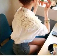 new body 2014 spring and summer women's sweet big flower cutout back of the small sexy all-match white sheer blouses shirts