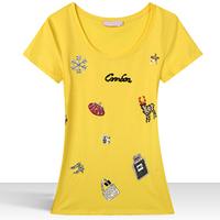 New Arrival 2014 Summer Fashion Ladies Tops Luxury Big Size Tee white Black Short Sleeve O-neck T Shirt Women