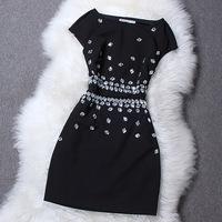 new 2014 shining Handmake beading women summer dresses, small black vintage luxury one piece retro party dress moda vestidos