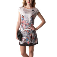 Brand New Euro Style Women Dresses 2014 Spring Fashion Vestidos Women Short Sleeve Bird Printed A-line Casual Dress