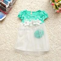 Free shipping! 2014 New summer flower girls dress baby dress princess kid dress Children clothing girl   Summer  layered dress