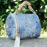 summer bag Free Shipping 2014 new arrive woman fashion handbag Rhinestone Denim bag Woven handbags Bright surface wave packet