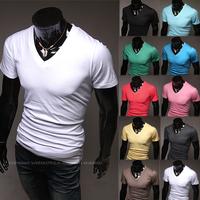 wholesale! Spring 2014 Men Short Sleeve T Shirt V neck Fashion Brand Casual Shirt Men's Clothing Plus Size Boy London Slim Fit