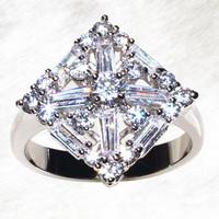 Fashion smart shapering pure manual AAA zircon inlaid rings women's jewelry ALW1914