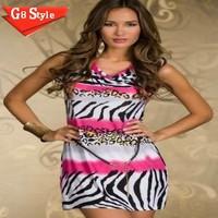N124 sexy  Puff geometric print sleeveless night club evening party dress dresses