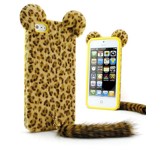 6 Colors Cute 3D Cute Cat TPU Leopard Print Plush Tail Skin back Cover Phone Case for iphone 5 5S(China (Mainland))