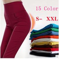plus size  S-XL 15 Color  Candy Color Pencil Pants Skinny women pants women With 4 Pockets Trousers Fit Lady Jeans leggings