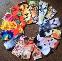 Free Dropshipping  Men Women Multiple Colors Harajuku 3D Printed Cute Unisex Cotton High Socks New  cartoon animal cotton socks
