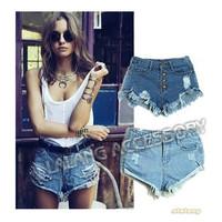 Vintage Women Denim Shorts High Waist Retro Destructed Denim Shorts Ripped Frayed Jeans Cutoff Shorts with Hole 850086