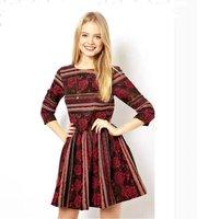 Free Shipping New Fashion Autumn And Winter Ladies' Sexy Retro Floral Print Stripe Dress