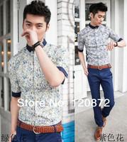 Free shipping 2014Fashion personality vintage royal fashion fifth sleeve shirt male flower shirt men's clothing