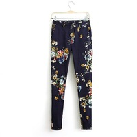 Women Vintage Style Floral Printed Trousers Lady Casual Harem Pants 2014 New 1110101102