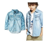 Hot sale 2014 spring fashion children shirts, designer cowboy shirt, european style kids shirt boys denim shirts