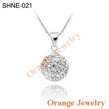 Wholesale Fashion Shamballa Jewelry Mix-Color Crystal Disco Balls Shamballa Necklace Pendants With Silver Necklace Free Shipping