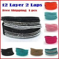 Small Profit Wholesale!New 12 Layer 2 Laps Bracelets For Women Man Leather Bracelet  Bangles, Charm Jewelry,12 Color Choices
