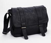 Fashion Man Bag Clad Cover Type PU Leather Shoulder Messenger Bag Horizontal Male Casual School Bag