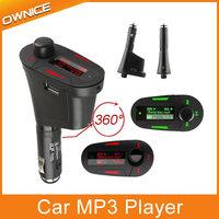 Car Kit MP3 Player Audio Wireless FM Transmitter Modulator USB SD MMC LCD 4 iPhone control rty Car mp3 player Free Shipping