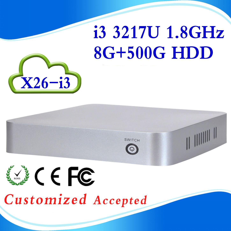 mini atx home theater pc windows xp X26-I3 3217U 8G RAM 500G HDD dual core living room HTPC Mini- PC with USB HDMI(China (Mainland))