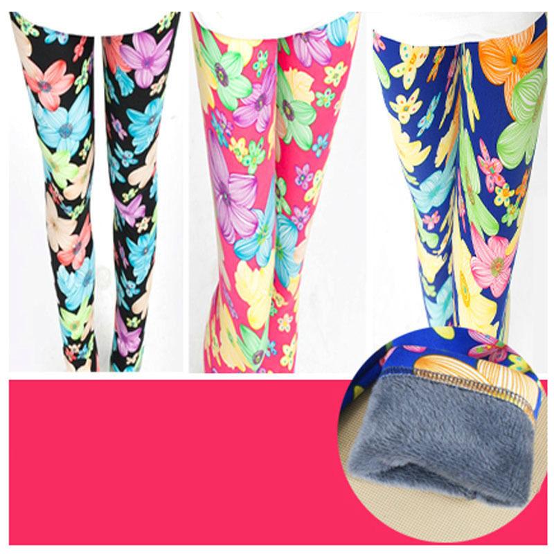 One Piece Kids Leggings Korean Children Floral Leggings Girls Pants Plus Thick Velvet Trousers Girl Legging Flower Printed Pants(China (Mainland))
