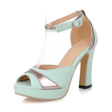 Discount 40% Off Sexy Women's Thick Heel Sandals High Heeled Peep Toe Platform Pumps Buckle Female Summer Shoes 3A00(China (Mainland))