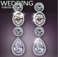 2014 Fashion Women Wedding Earrings,Artificial Drill Drop Earring Jewelry,925 Pure Silver Stud Earing,Long Tassel Accessories