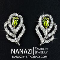 2014 Fashion European Korea Long Earring,925 Pure Sterling Silver needle Earrings Popular Zircon Women Wedding Crystal Ear Stud