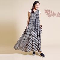 [ LYNETTE'S CHINOISERIE - Sang ] 2014 Spring Summer Women Plaid Patchwork Mori Girls Leaps Collar Sleeveless Light  Cotton Dress