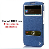 Free shipping ranvoo dual window leather flip case for huawei B199 case with screen protector LN004