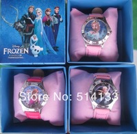 2014 Lovely Lots 4pcs Cartoon frozen watch Wristwatches WITH BOX &GIFT box free shipping