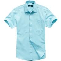 Fashion Short sleeve Stripes Summer Shirt Fresh Blue Good Quality xxxl men clothes Free shipping DXN03