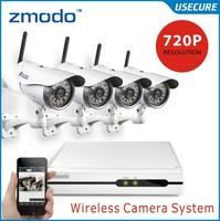 New! Zmodo CCTV 4CH 720P wireless night vision video surveillance ip wifi camera system 4ch NVR recorder kit+Free Shipping