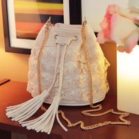 fashion small bucket messenger bag female tassel lace chain small bag