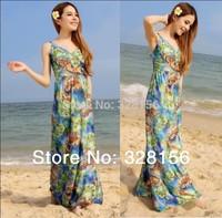 2014 Paisley Printed Long/maxi Plus size Casual dress Women dress XL-6XL,FreeShipping